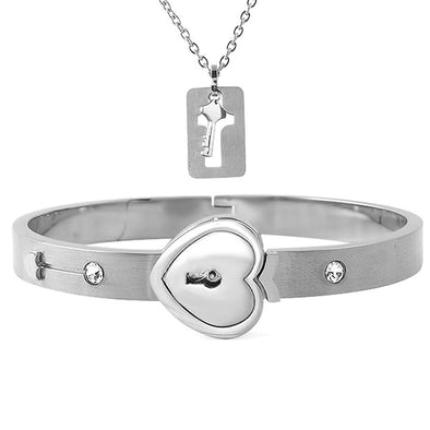 Heart Lock Bangle with Pendant Key Set