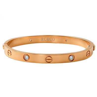 Rose Gold Classic CZ  Button Bangle with Screwdriver