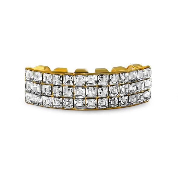 Princess Cut 3 Row  Gold Grillz Bottom