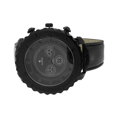 All Black Hip Hop Watch Leather Band