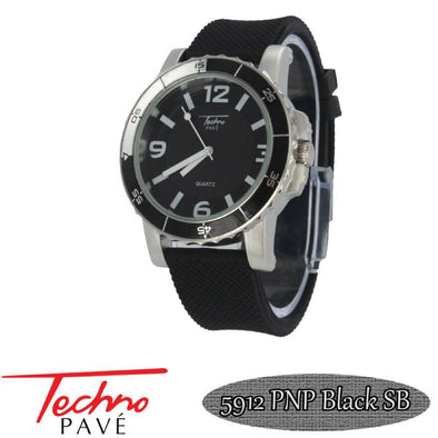 Techno Pave Sport Silver Black Rubber Watch