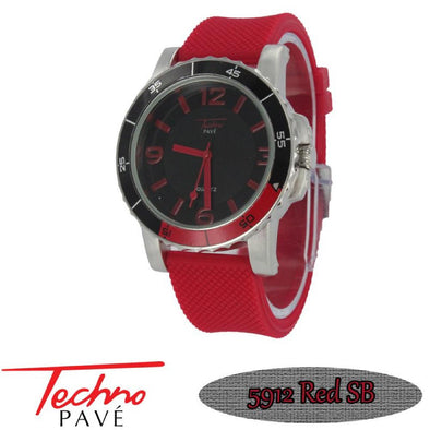 Techno Pave Sport Silver Red Rubber Band
