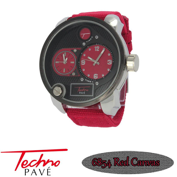All Red Canvas Band Dual Time Zone Silver Watch