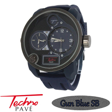 Blue Dual Time Zone Watch Rubber Band