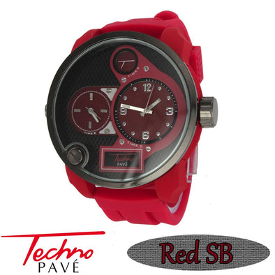 All Red Rubber Band Dual Time Zone Watch