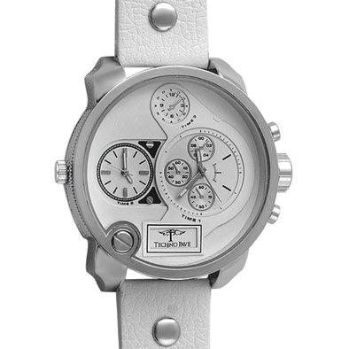 White Double Timezone Silver Mens Watch