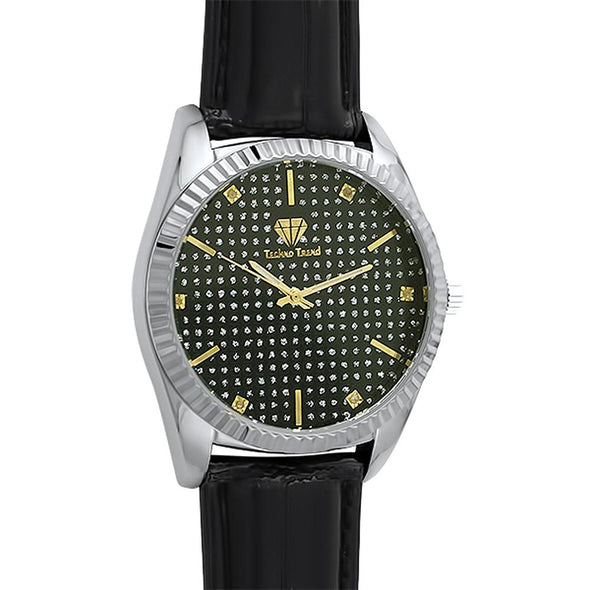 Diamond Dress Watch Silver Case Black Dial  Leather