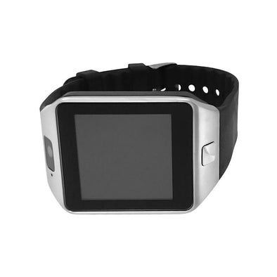 Smart Watch Silver Case Black Band