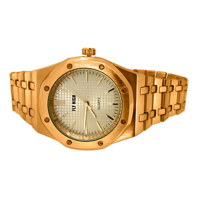 Rose Gold Brushed Octagon Bezel Watch