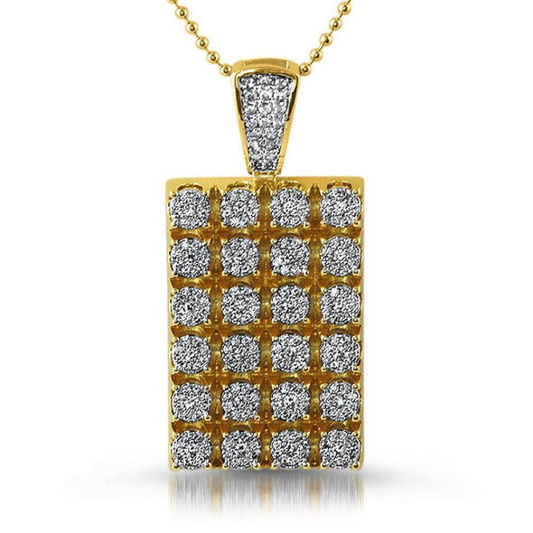 Gold Cluster CZ Dog Tag Pendant