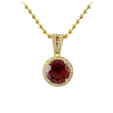 Lab Ruby Smaller Round Cut Gold CZ Pendant