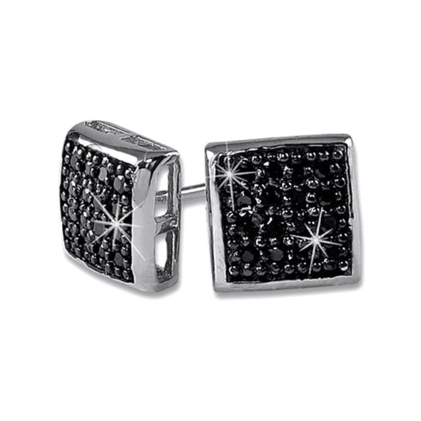 32 Stones Puffed Box Black CZ Micro Pave Earrings .925 Silver