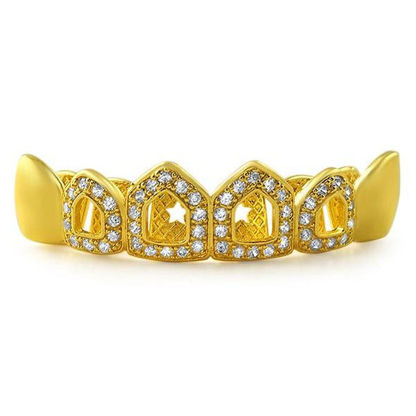 Polished 4 Open Tooth CZ Bling Bling Gold Grillz Top Teeth