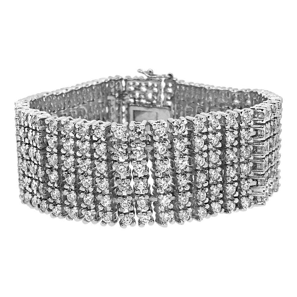 CZ 6 Row Bling Bling Bracelet Rhodium