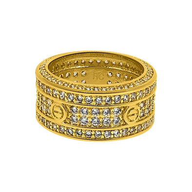 .925 Silver Eternity Band Flathead CZ Gold Bling Bling Ring