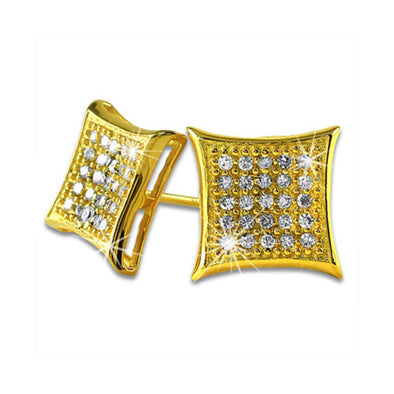 Kite Medium Gold Vermeil CZ Micro Pave Earrings .925 Silver