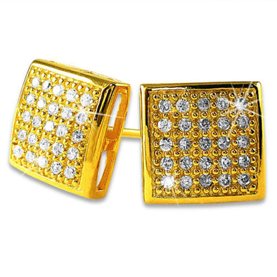Puffed Box Medium Gold Vermeil CZ Micro Pave Earrings .925 Silver