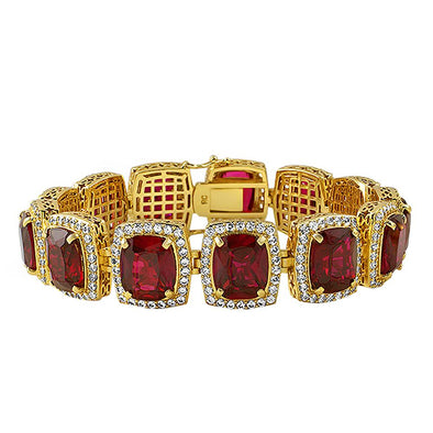 Rick Ross Style Gold Lab Ruby Bracelet Bling