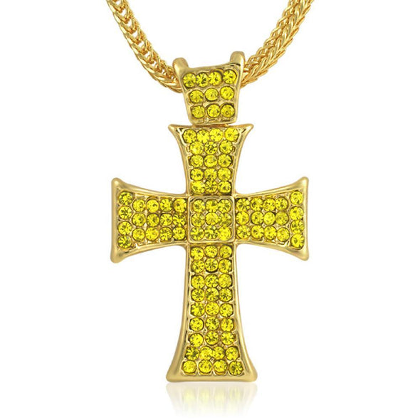 Lemonade Hatchet Iced Out Cross Chain Small