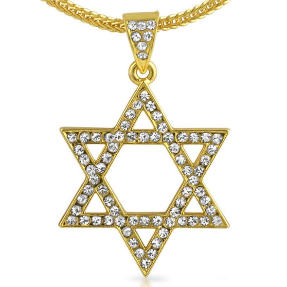 Jewish Star of David Gold Pendant  Chain Small