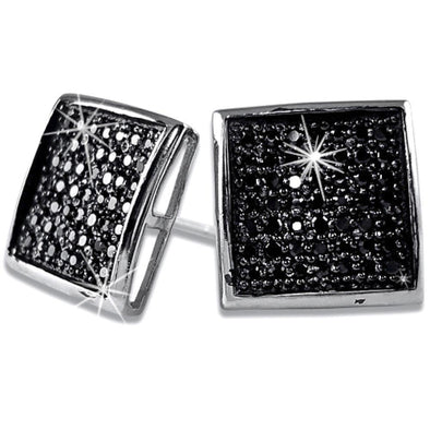 XL Deep Dish Box Black CZ Iced Out Micro Pave Earrings .925 Silver