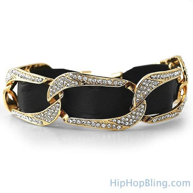 Gold Cuban Black Leather Bling Bling Bracelet