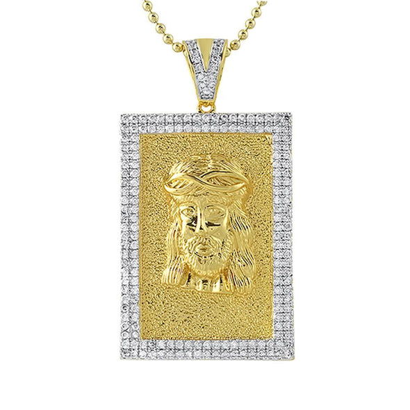 Gold Jesus Piece Block CZ Pendant