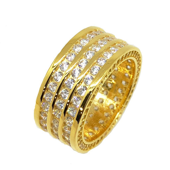 Triple Row CZ Eternity Band Bling Bling Ring in Gold