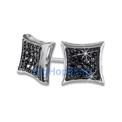 Kite 32 Stones Black CZ Micro Pave Earrings .925 Silver