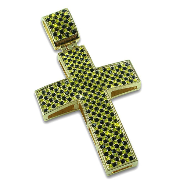 Canary  Black Checkered Gold Cross