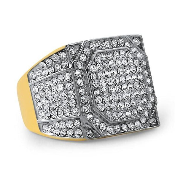 Gold Stainless Steel Emperor Bling Bling Ring