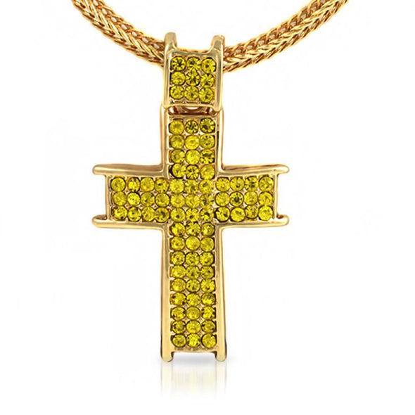 Ice Channel Lemonade Iced Out Cross Chain Small