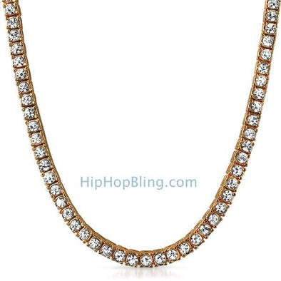 Rose Gold 1 Row Bling Bling Tennis Chain