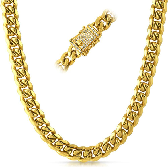 CZ Diamond Lock Cuban Chain 12MM Gold Steel