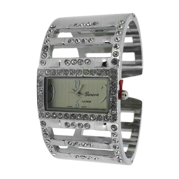 Wide Bangle Ladies Silvertone Watch
