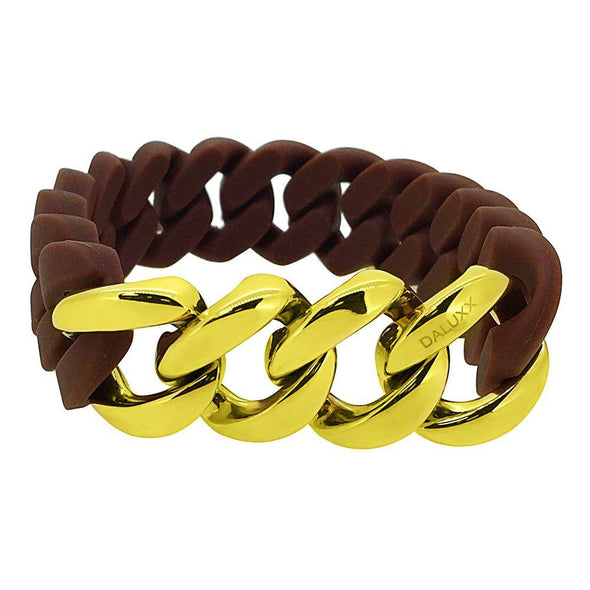 Gold Cuban Brown Rubber Bracelet