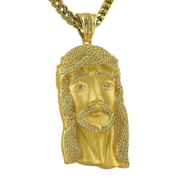 Canary Stones on Gold .925 Silver Jesus Piece
