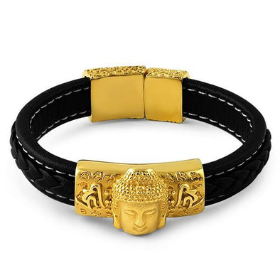Gold Buddha Black Leather Bold Fashion Bracelet