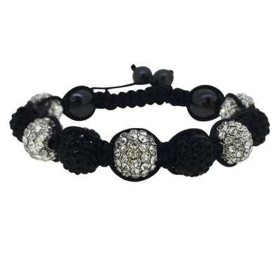 Black  White 10MM Disco Ball Bracelet