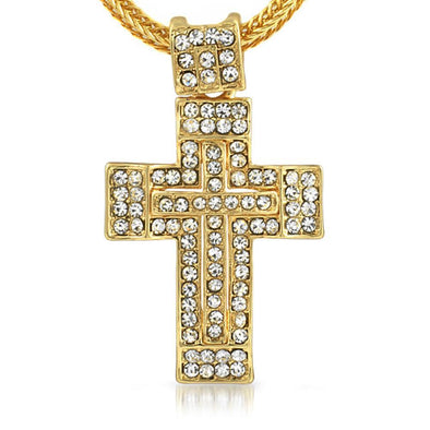 Gold Thick Cross  Chain Small