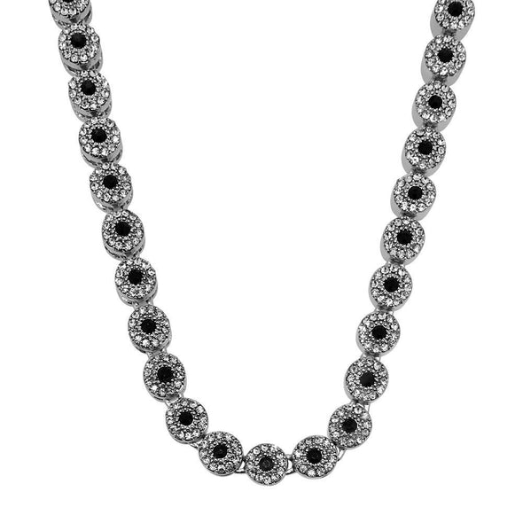 Cluster Chain Black White Rhodium