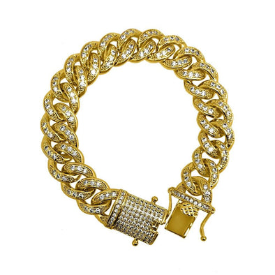 .925 Silver Gold 12MM Ice Lock CZ Bling Miami Cuban Bracelet