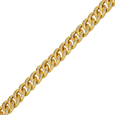 Gold Miami Cuban CZ Bling Bling Bracelet 8MM