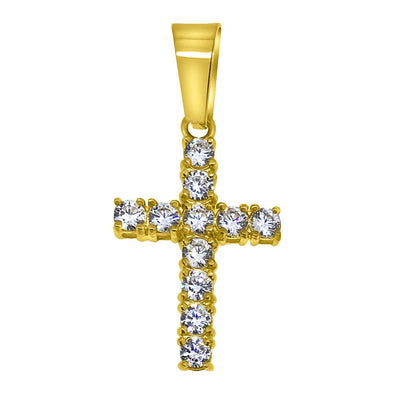 3MM CZ Tennis Cross Gold Steel