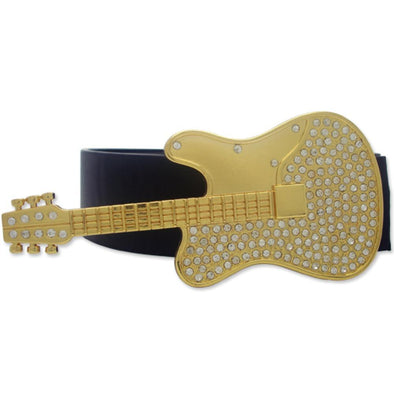 Guitar Musical Instrument Gold Iced Out Belt Buckle