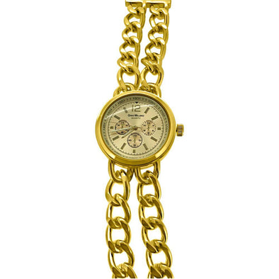 Womens Double Cuban Gold Fashion Watch