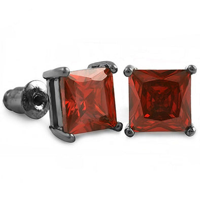 Red CZ Diamond Square Stud Earrings Black (DOZEN PAIRS)