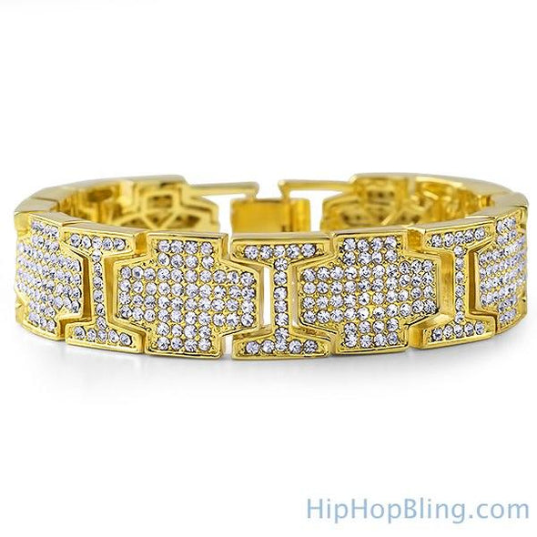 Gold Cross Link Bling Bling Bracelet