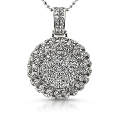 Cuban CZ Circle  Pendant Rhodium