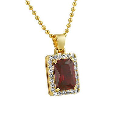 Lab Ruby Block Gold CZ Pendant